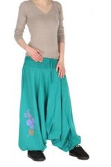 Sarouel ethnique smock� maelis turquoise 260938