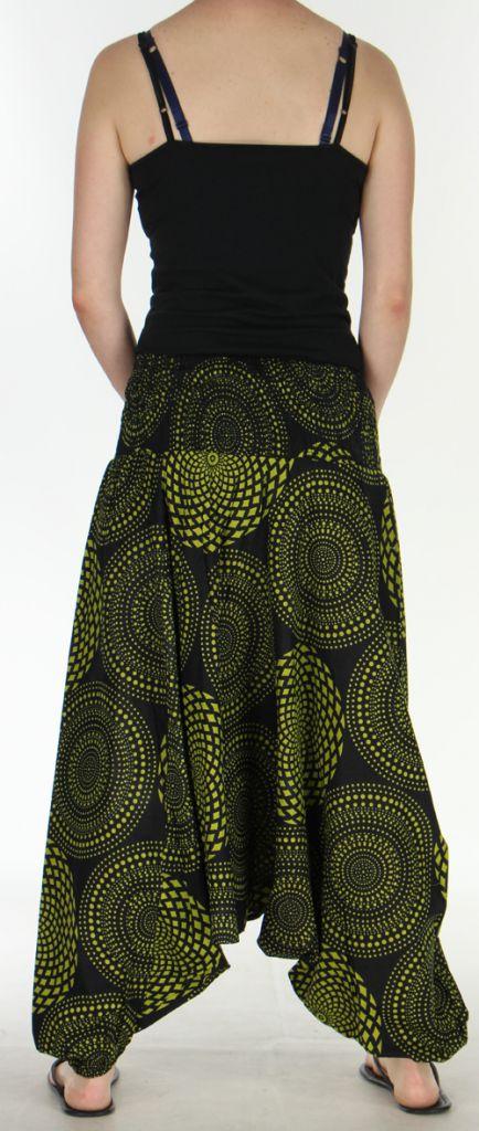 Sarouel Femme 3en1 Ethnique et Original Julen Noir et Anis 275482