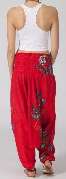 Sarouel femme 3en1 pas cher ethnique et original rouge