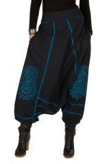 Sarouel femme Bleu avec imprimés mandala et poches Luccina 301305