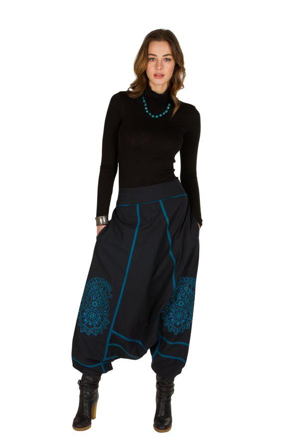 Sarouel femme Bleu avec imprimés mandala et poches Luccina 301307
