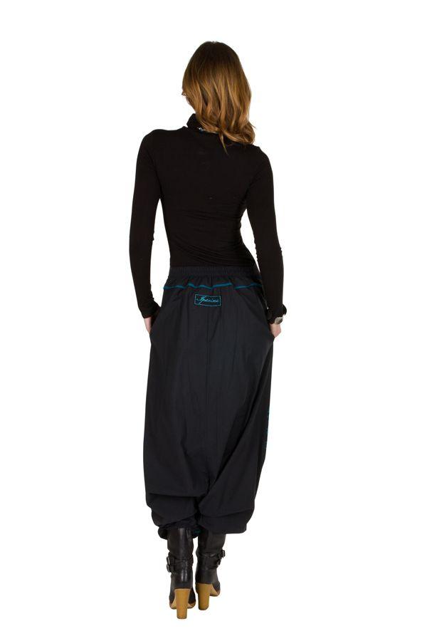 Sarouel femme Bleu avec imprimés mandala et poches Luccina 301308