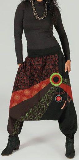 Sarouel femme Hiver ethnique et pas cher Noir Amadeo 273644