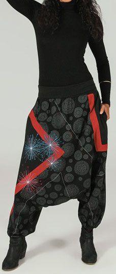 Sarouel femme Hiver ethnique et pas cher Noir Amael 273648
