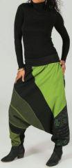 Sarouel femme Hiver ethnique et pas cher Noir et Vert Aiko 273646