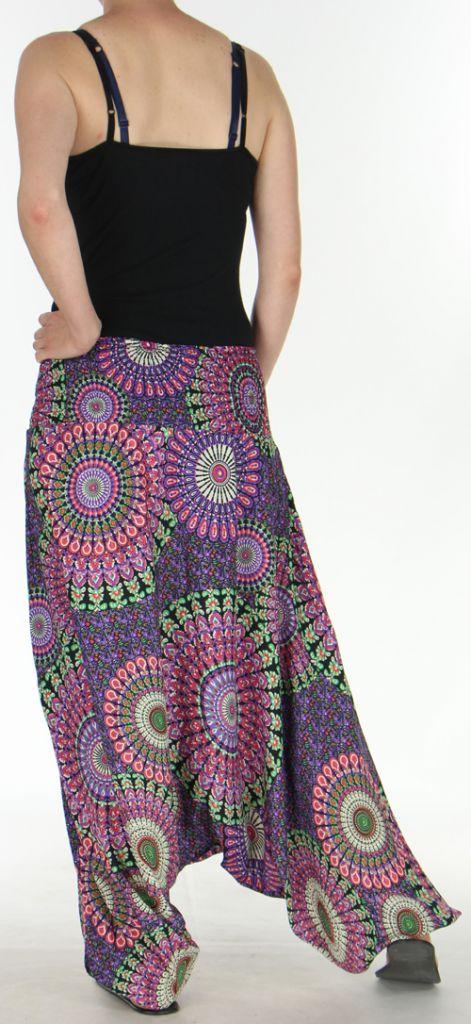 Sarouel Femme transformable 3en1 Ethnique et Coloré Joanny Noir 275437