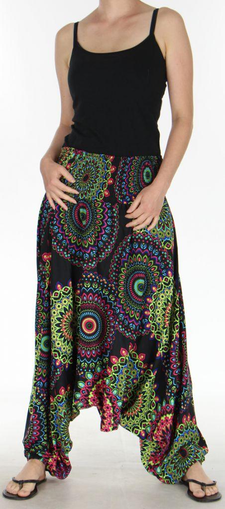 Sarouel Femme transformable 3en1 Ethnique et Coloré Jocelin Noir 275444