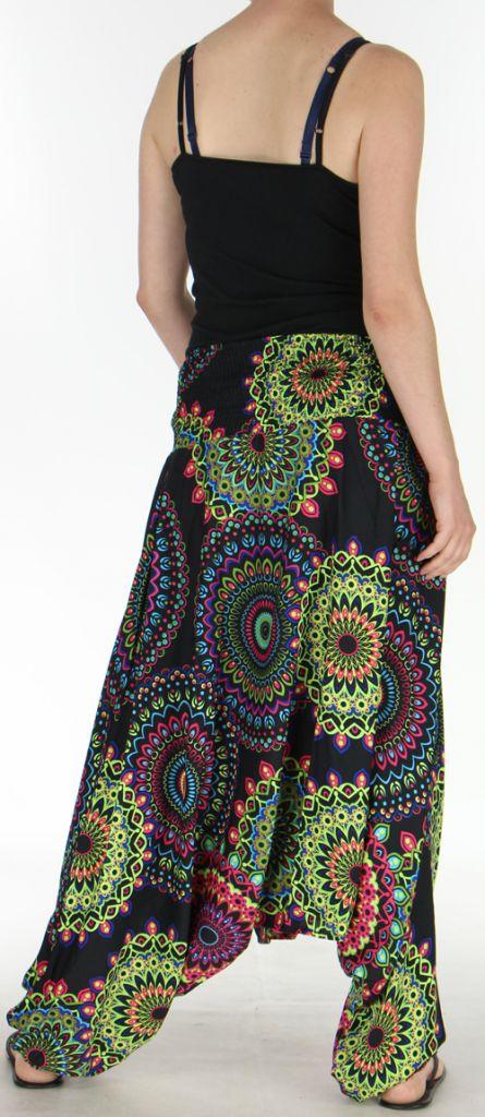 Sarouel Femme transformable 3en1 Ethnique et Coloré Jocelin Noir 275445