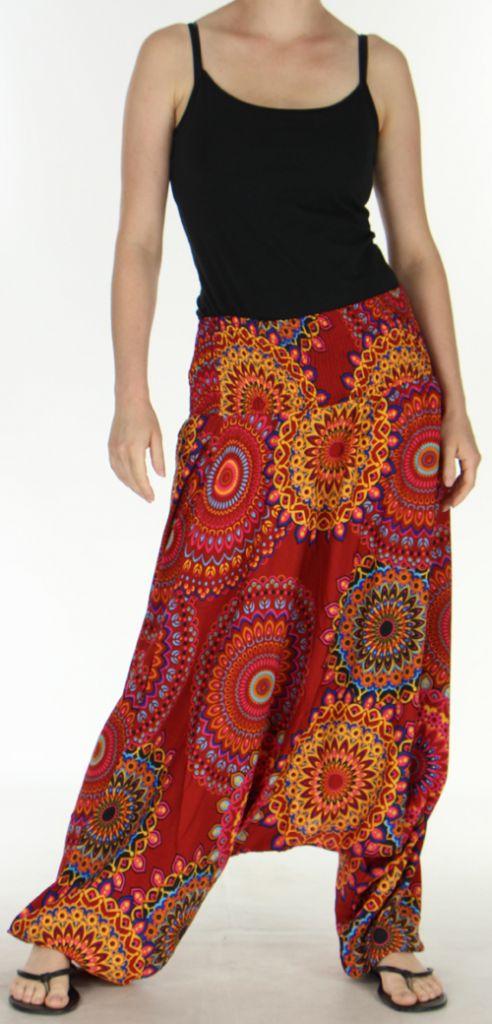 Sarouel Femme transformable 3en1 Ethnique et Coloré Jocelin Rouge 275448
