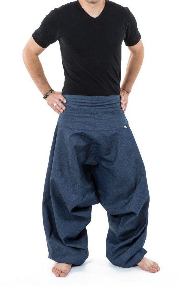 Sarouel homme original style baggy bleu jean Padoox 304121