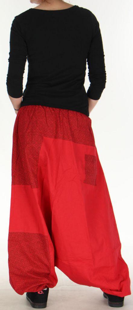 Sarouel large Mixte à fourche basse Ethnique et Original Jaeson Rouge 275352
