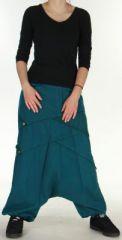Sarouel Mixte � fourche basse Ethnique et Original Jaimy Bleu p�trole 275373