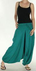 Sarouel Mixte à fourche basse Ethnique et Souple Jorian Turquoise 275460