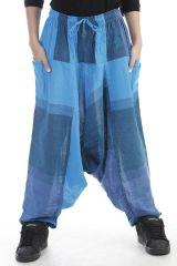 Sarouel mixte baba cool en 100 % coton avec imprimés bleu Melilou 305096