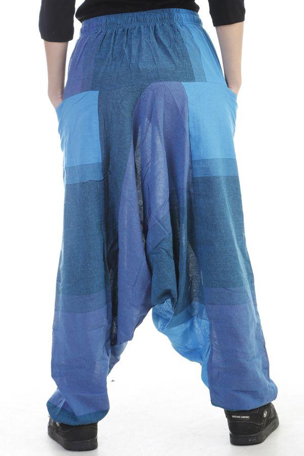 Sarouel mixte baba cool en 100 % coton avec imprimés bleu Melilou 305098