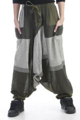 Sarouel mixte baba cool en 100 % coton avec imprimés Kaki Melilou 305126