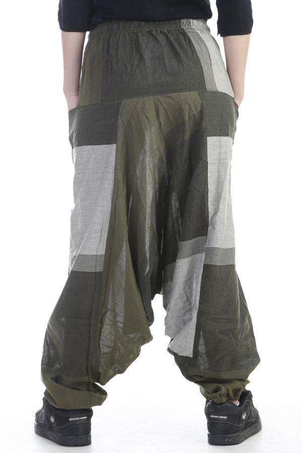 Sarouel mixte baba cool en 100 % coton avec imprimés Kaki Melilou 305128