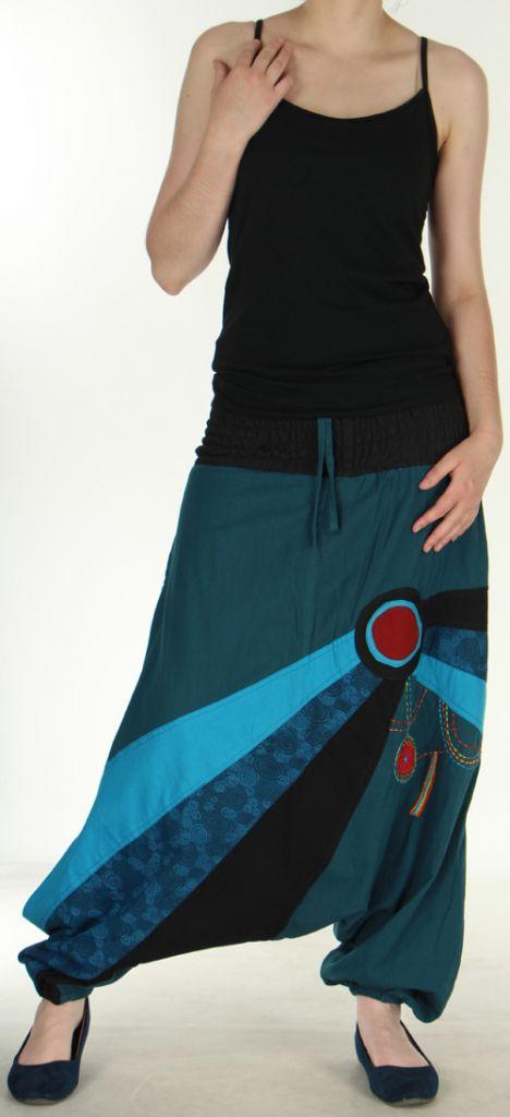 Sarouel mixte ethnique et baba cool de couleur Bleu Oko 273135
