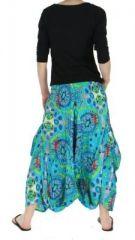 Sarouel mode ethnique imprimé vanuatu bleu 255736