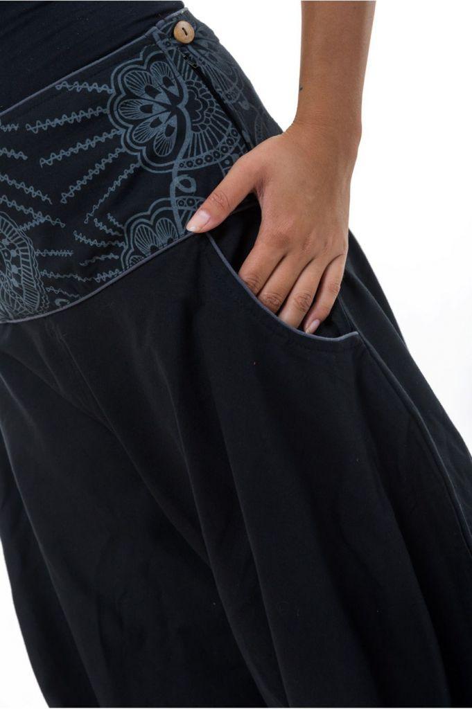 Sarouel noir du Népal à la ceinture originale femme Kandhi 313529