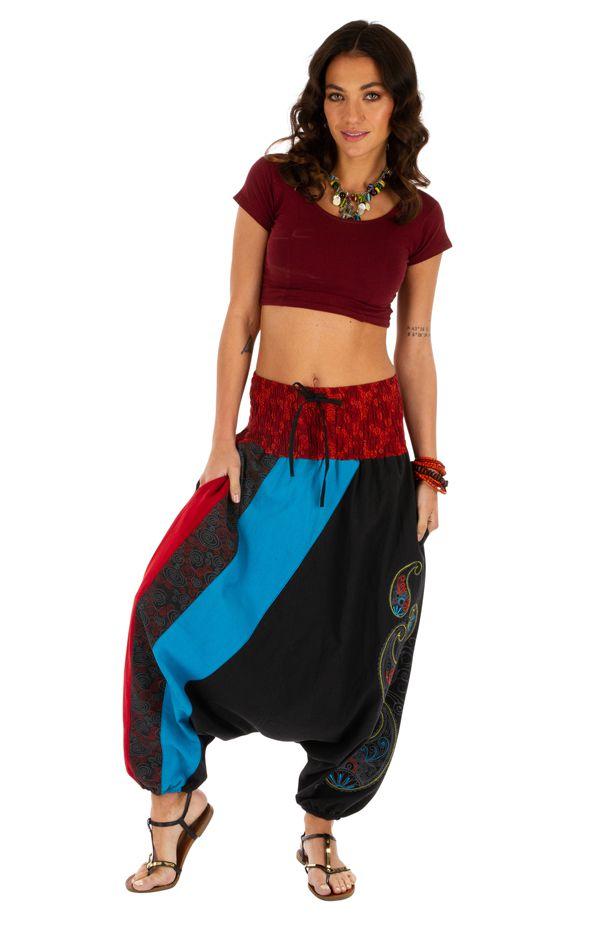 Sarouel noir très féminin et ethnique imprimé Mekele 314215