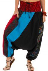 Sarouel noir très féminin et ethnique imprimé Mekele 314217