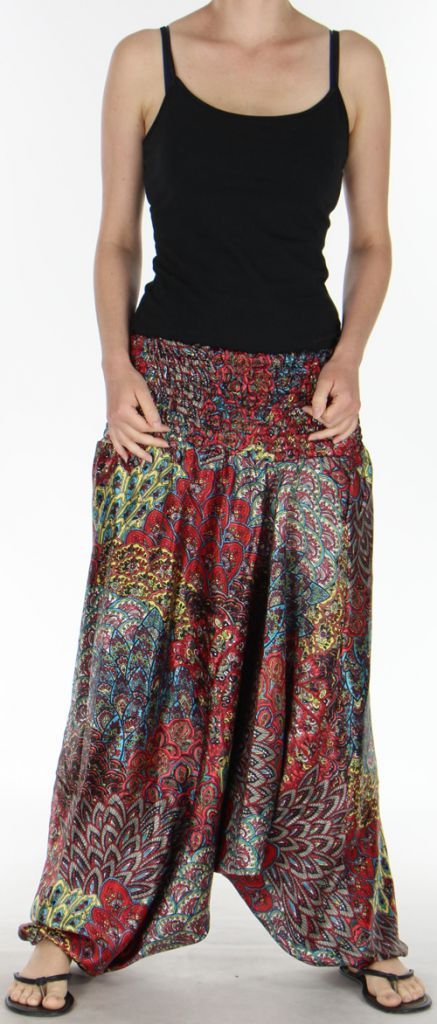 Sarouel pour Femme Chic et Ethnique aspect soie Joanis Rouge 275414