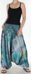 Sarouel pour Femme Chic et Ethnique aspect soie Joanis Turquoise 275416