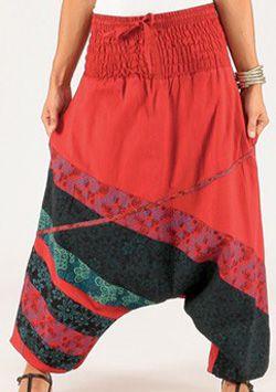 Sarouel pour Femme Coloré et Ethnique Kalinda Rouge 276706