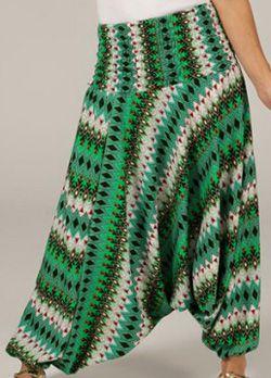 Sarouel pour Femme d'été Ethnique et Coloré Ivan Vert et Blanc 276802