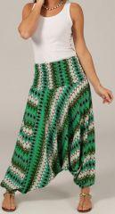 Sarouel pour Femme d'été Ethnique et Coloré Ivan Vert et Blanc 276803