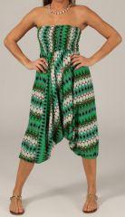 Sarouel pour Femme d'été Ethnique et Coloré Ivan Vert et Blanc 276804
