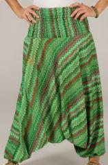 Sarouel pour Femme d'été Ethnique et Coloré Ivan Vert 276796