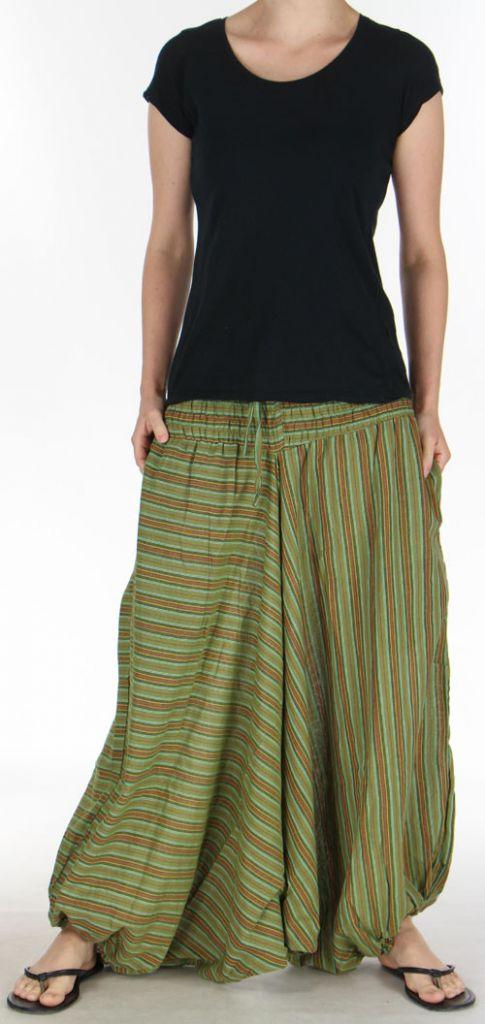 Sarouel pour Femme du Népal Ethnique Keyton Vert 276128