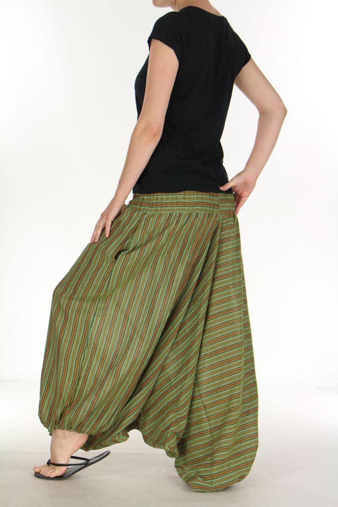 Sarouel pour Femme du Népal Ethnique Keyton Vert 276129