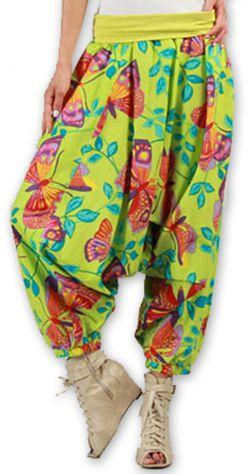 Sarouel pour Femme Ethnique et Coloré Thaly Vert 277167