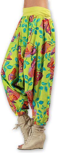 Sarouel pour Femme Ethnique et Coloré Thaly Vert 277169