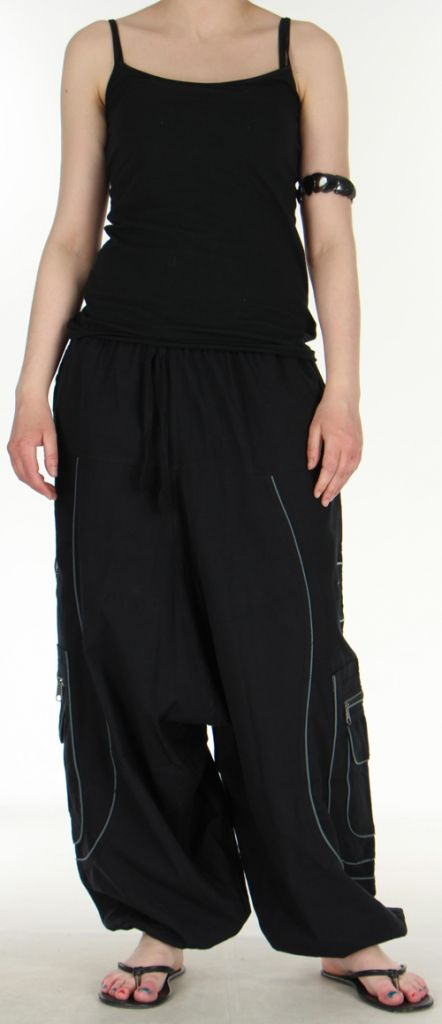 Sarouel pour homme noir et gris 9 poches Tekos 271358