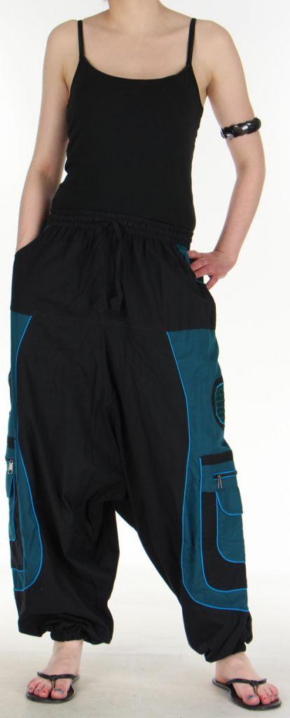 Sarouel pour homme original noir et bleu 9 poches Tekos 271365