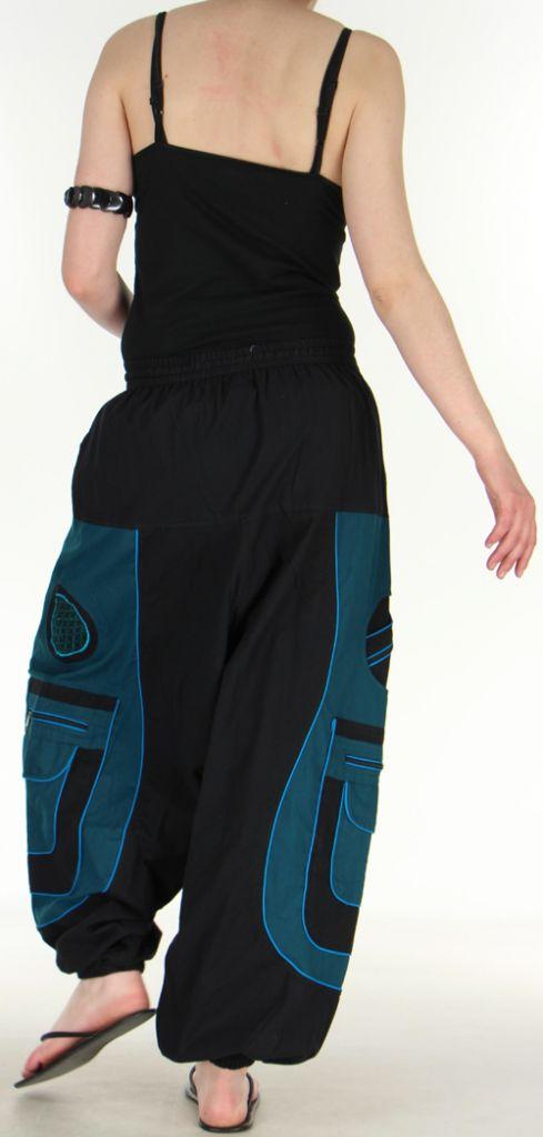 Sarouel pour homme original noir et bleu 9 poches Tekos