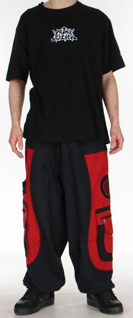Sarouel pour homme original noir et rouge 9 poches Tekos 271360