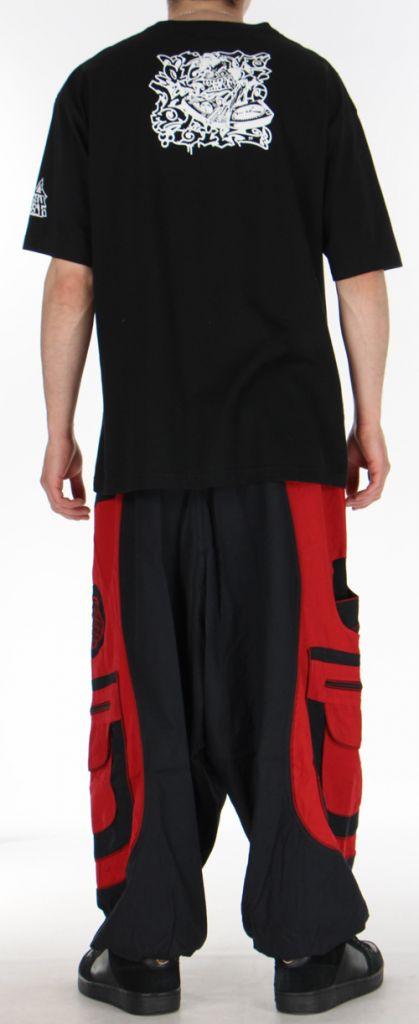 Sarouel pour homme original noir et rouge 9 poches Tekos 271361