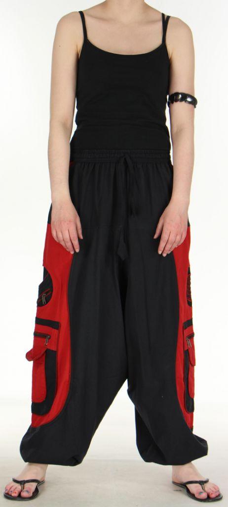 Sarouel pour homme original noir et rouge 9 poches Tekos