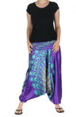 Sarouel smock� imprim� paon violet et bleu 263266