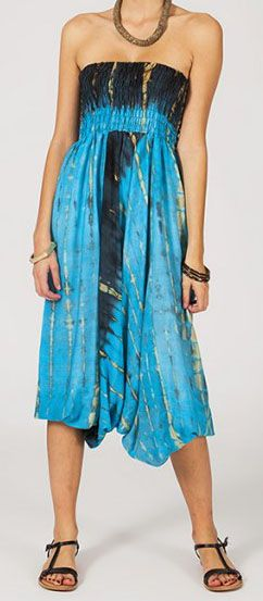 Sarouel tie-dye 3en1 fluide et léger en rayonne bleu 270406