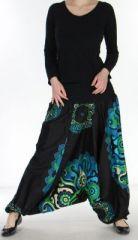 Sarouel transformable 3en1 pas cher noir et turquoise Bizance 272520