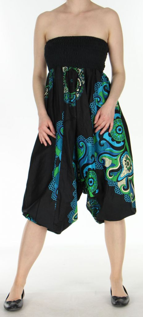 Sarouel transformable 3en1 pas cher noir et turquoise Bizance 272522