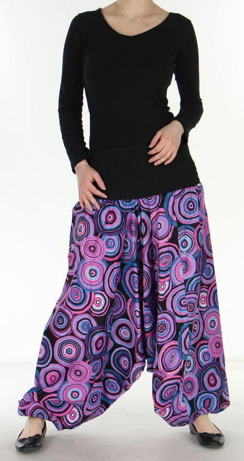 Sarouel transformable original ethnique 3en1 coloré Purple Circle 272516