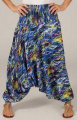 Sarouel transformable pour femme Ethnique et Coloré Flashan Bleu 277771