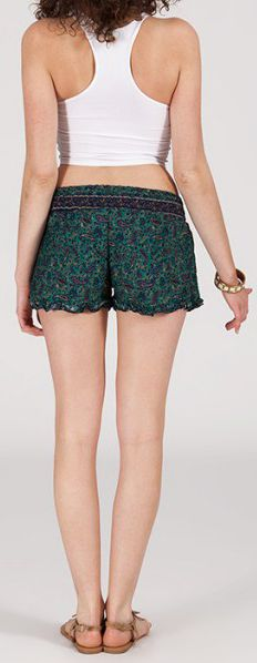 Short style ethnique aux motifs effet batik - Bleu/Vert - Baccio 272116